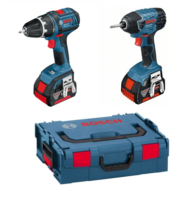 BOSCH 15990.G2K - 2pc Cordless 18V Tool Set Drill+Impact Driver+2x1.5A/Hr Batteries+LBOXX