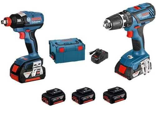 BOSCH 15990.H8J - 2pc Cordless 18V Tool Set Combined Impact Wrench/Drill+Combi Drill+3x5A/Hr Batteries+Carry Bag