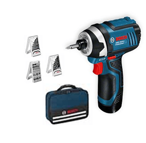 BOSCH GDR 12V-LI - Cordless 12V Compact Impact Drill Driver+2x2.0A/Hr Batteries+Accessories+Carry Bag