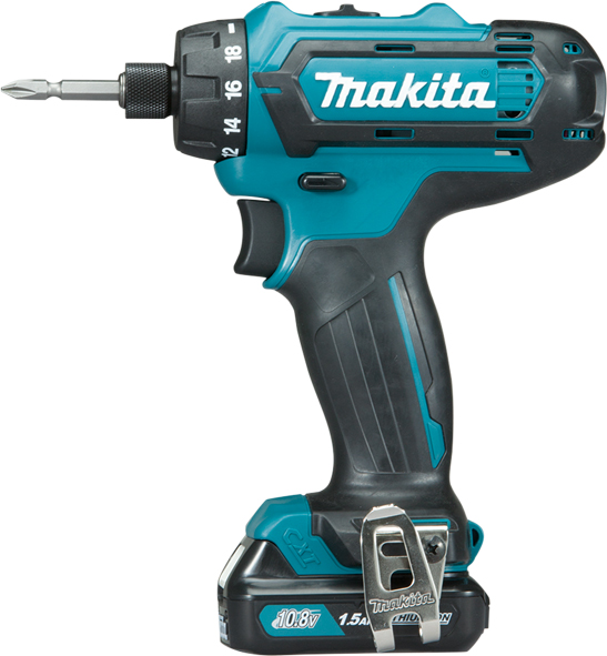 MAKITA DF033DWYE - 10.8V Keyless Chuck Drill Driver w/2x1.5A Batteries