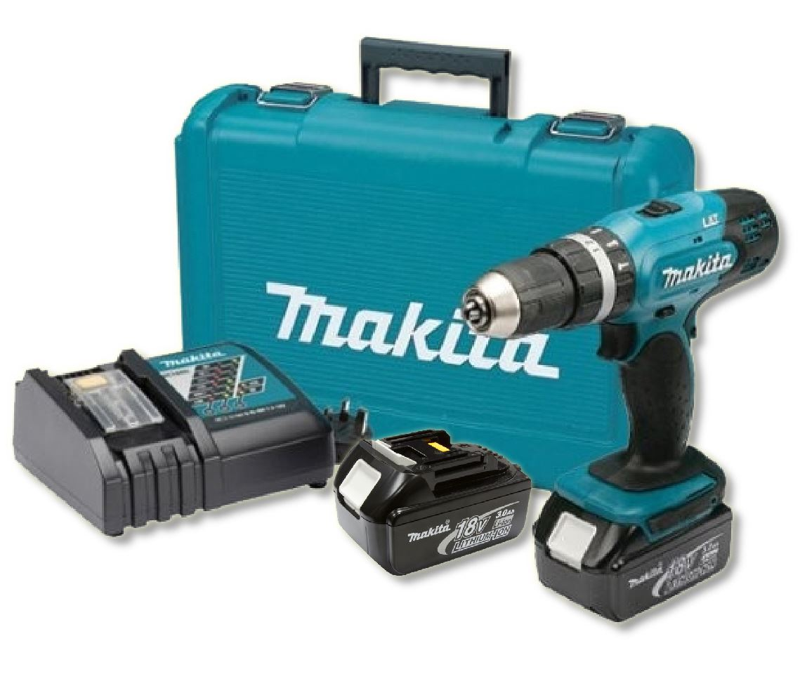 MAKITA DHP453RFE - 18V Combi Drill Driver w/2x3A Batteries & Rapid Charger