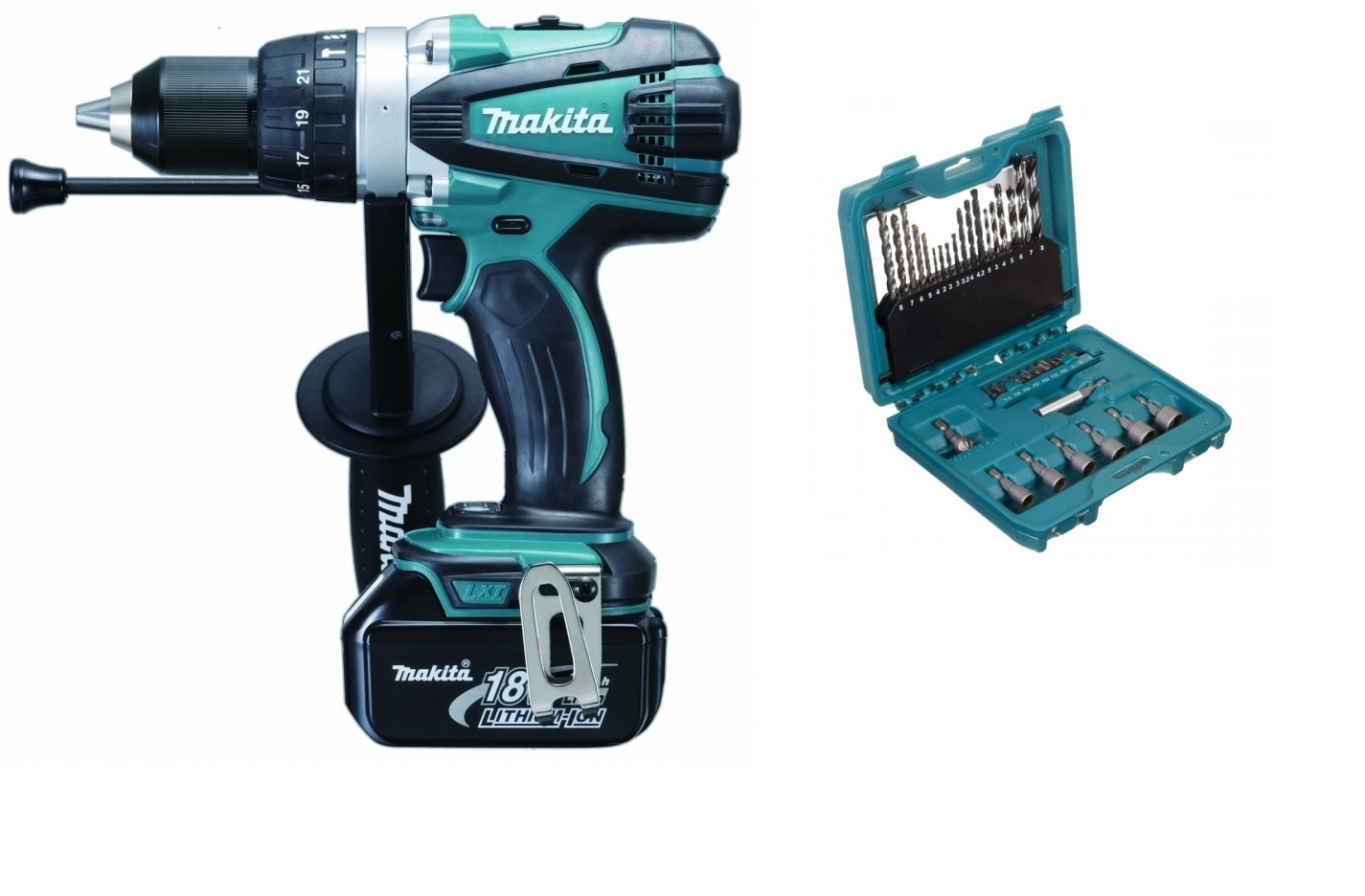 MAKITA DHP458P - 13mm Combi Drill Driver 18V incl. 4A Battery + 36pc Bit Set P4402