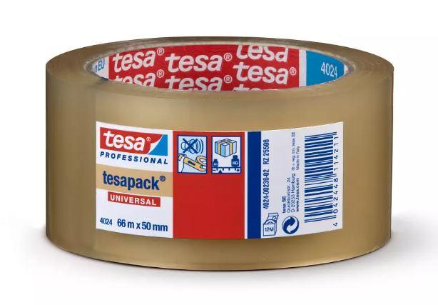"""TESA 4024-36 - סרט הדבקה/אריזה חסכוני שקוף מפוליפרופילן 50 מ""""מ 66 מ'"""