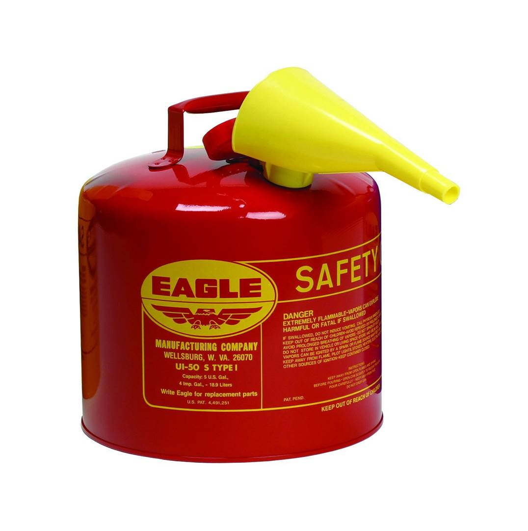 """מיכל דלק מתכת בטיחותי עגול כולל משפך 19 ליטר תוצרת ארה""""ב"""