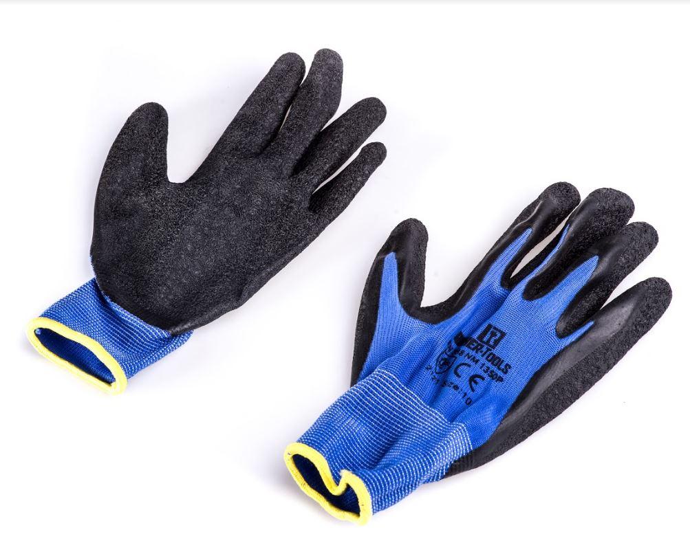 תריסר זוגות כפפות פוליאסטר אחיזה משופרת XL-11 - כחול/שחור