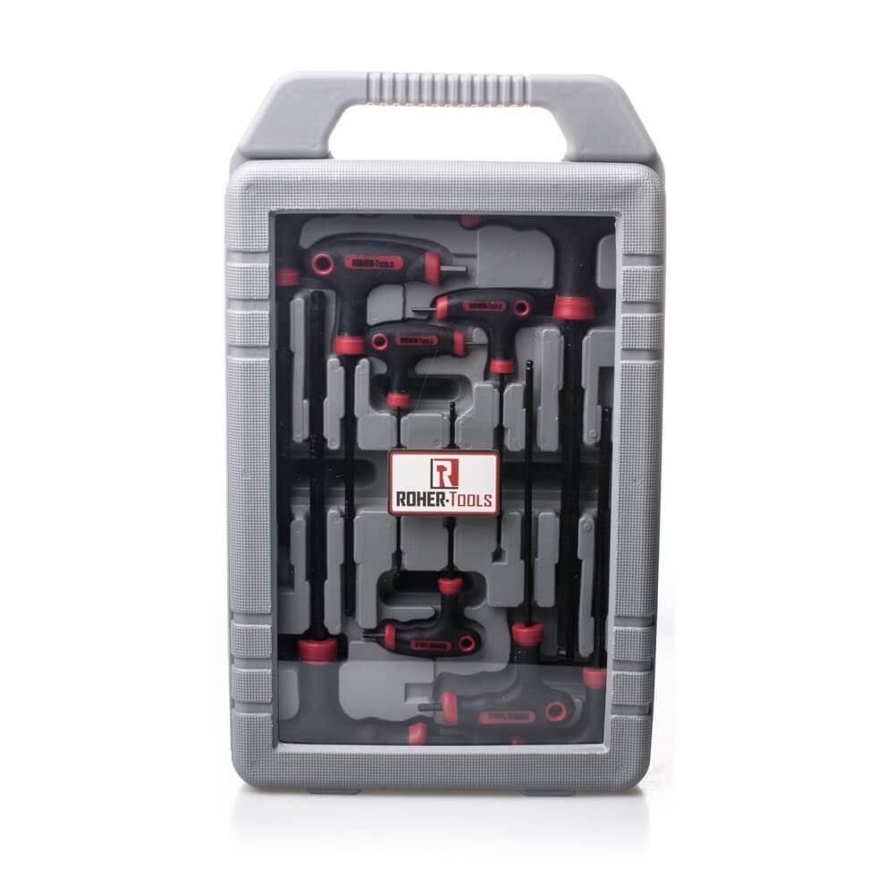 """סט 9 מפתחות אלן ידית T במזוודה במידות: 2-10 מ""""מ"""