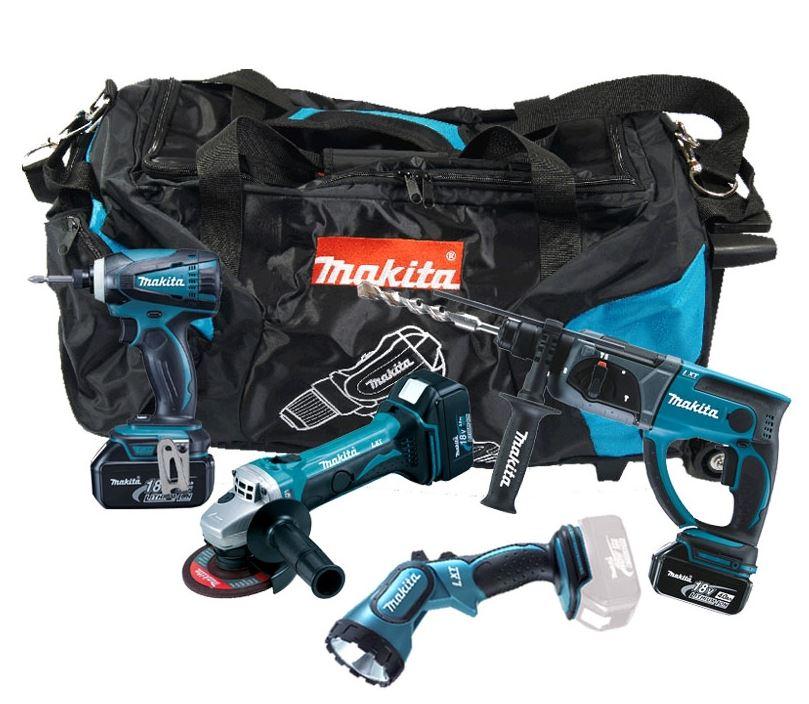 סט כלים מקיטה DLX 4005TX1 פטישון + אימפקט + משחזת + פנס כולל 3 סוללות 5 אמפר ומטען מהיר