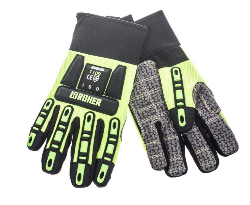 זוג כפפות עבודה למכונאים כולל הגנת אצבעות עליונה מידה 11 (XL) - צבע צהוב