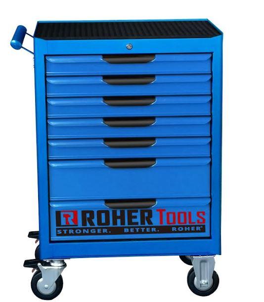 עגלת כלים 7 מגירות ROHER כחולה, כולל מנגנון Interlock