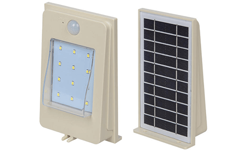 Solar Powered 2W LED Wall Mounted Flash Light with Motion Sensor
