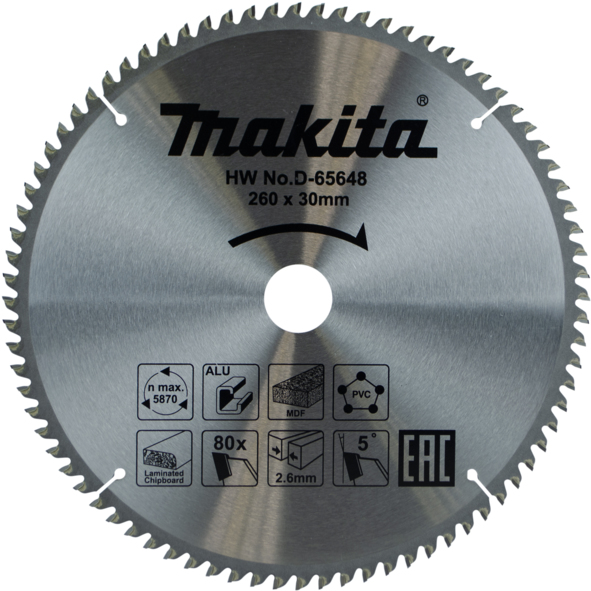 MAKITA D-63563- 260mm 80T Multi-Purpose Circular Saw Blade