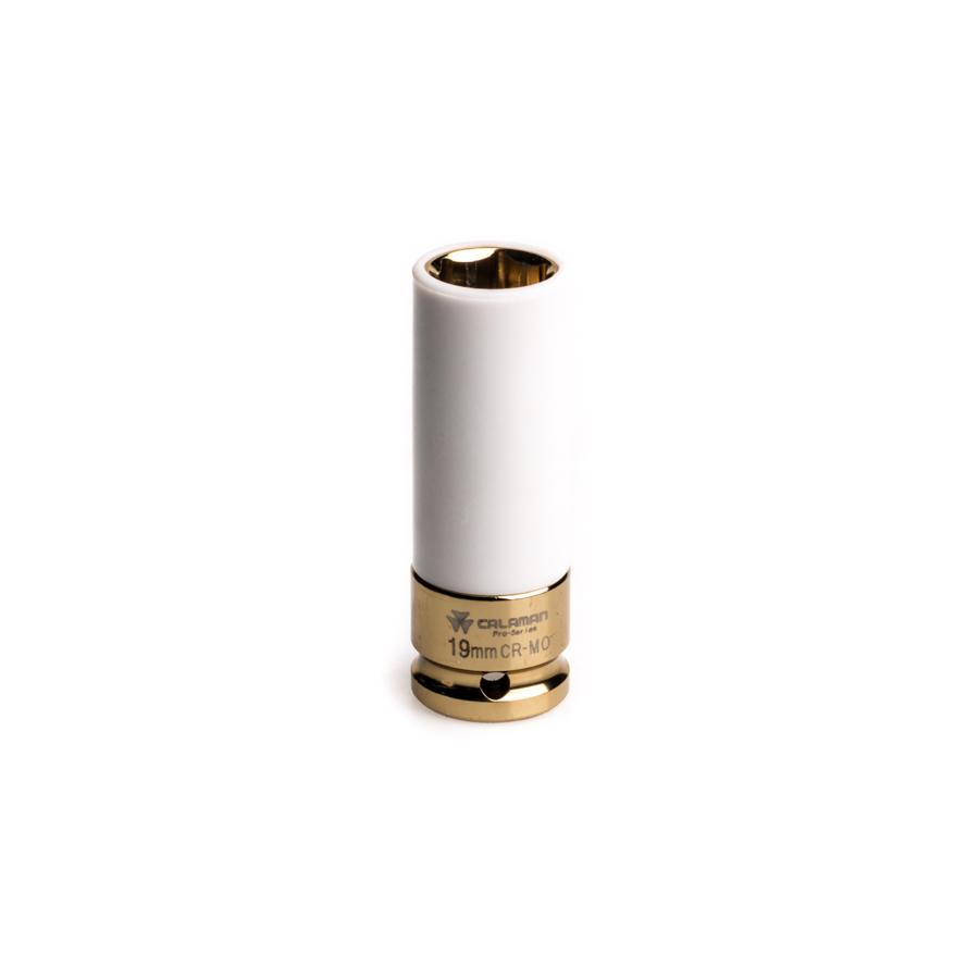 """בוקסה אימפקט עמוקה 19 מ""""מ דרייב """"1/2 דופן דק מצופה להגנה על ג'נטים מגנזיום וטסות"""