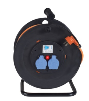 DEKO DCR25R - Electrical Cable Reel 25M 3X2.5mm² with 2 Sockets & Residual-current Cutout